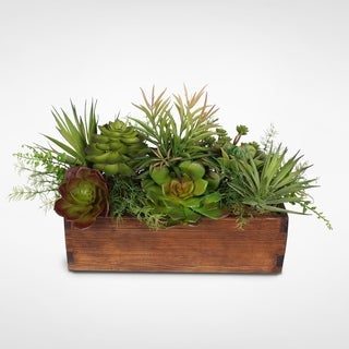 Artificial Echeveria and Sedum Succulent Garden in Wood Planter