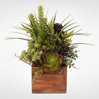 Artificial Succulent Variety in Rustic Wood Planter