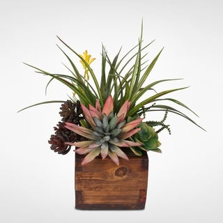 Artificial Agave Pelona Plant with Succulent Variety Arrangement in Rustic Wood Planter