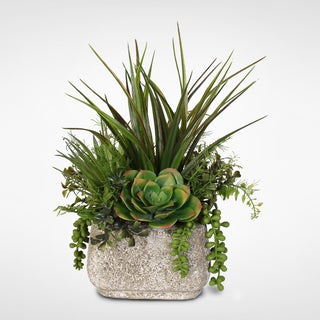 Artificial Succulent Variety in a Stone Pot - Green