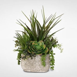 Artificial Succulent Variety in a Stone Pot