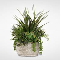 Artificial Succulent Variety in a Stone Pot - Green - 12 x 18 x 9