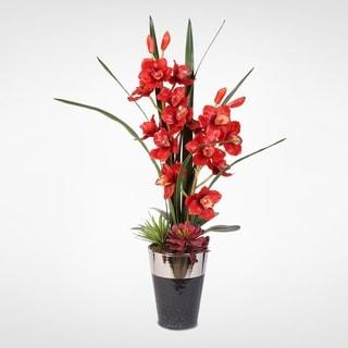Cymbidium Silk Orchids with Succulents in a Ceramic Pot
