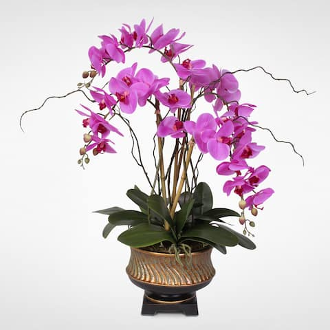 """Parisan Chic Purple Beauty Orchid Nestled in """"Gilded Vase"""