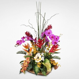 Exotic Silk Floral Arrangement in Teakwood Bowl
