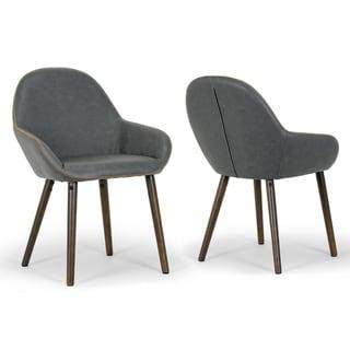 Alan Vintage Grey Faux Leather Contrast Stitch Arm Chair (Set of 2)