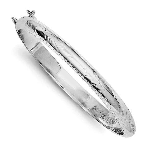 Sterling Silver Rhodium-plated 5mm Baby Hinged Bangle Bracelet, by Versil