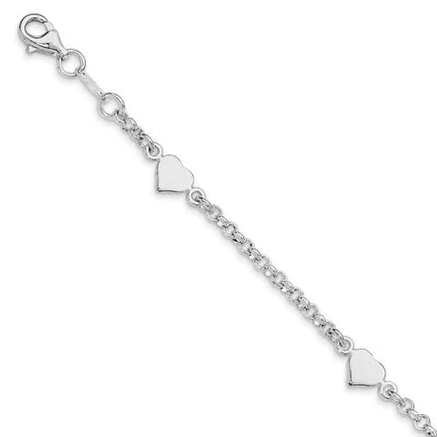 Sterling Silver Heart w/.25 Inch Ext. Children's Bracelet by Versil
