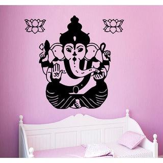 Indian Elephant Decal Lotus Yoga Studio Home Design Interior Art Dorm Mural Sticker Decal size 44x44