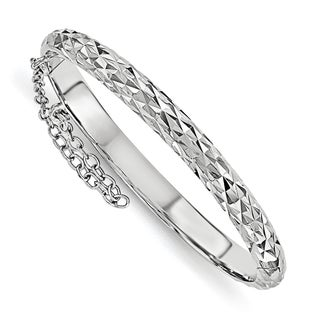 Sterling Silver Rhodium Plated Diamond Cut With Safety Hinged Child's Bangle, by Versil