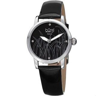 Burgi Women's Diamond Reed Design Dial Silver-Tone/ Black Leather Strap Watch