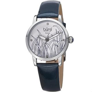 Burgi Women's Diamond Reed Design Dial Silver-Tone/ Blue Leather Strap Watch