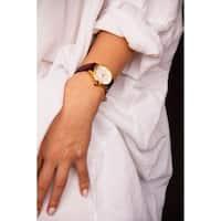 Burgi Women's Diamond Reed Design Dial Gold-Tone/Burgundy Leather Strap Watch