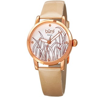 Burgi Women's Diamond Reed Design Dial Rose-Tone/Cream Leather Strap Watch with FREE GIFT