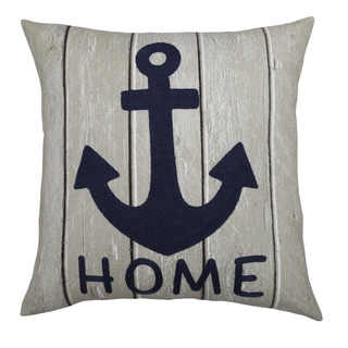 Lush Decor Anchor Home Blue Cotton 18-inch Decorative Pillow