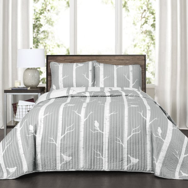 Lush Decor Bird On The Tree 3 Piece Reversible Quilt Set