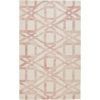 Grand Bazaar Marengo Blush 8 x 11 Contemporary Geometric Wool Area Rug - 8' x 11'