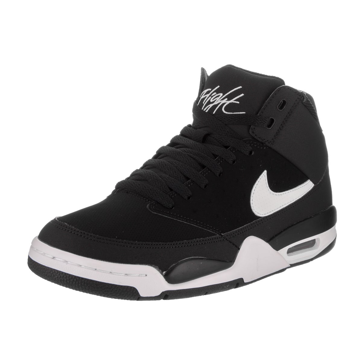 tambor vértice Muscular  Nike Men's Air Flight Classic Black and White Basketball Shoes - Overstock  - 14396830