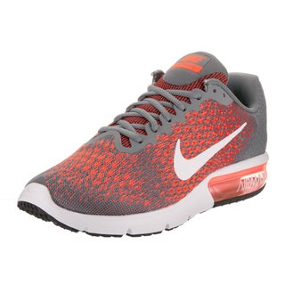Nike Men's Air Max Sequent 2 Grey and Orange Textile Running Shoe