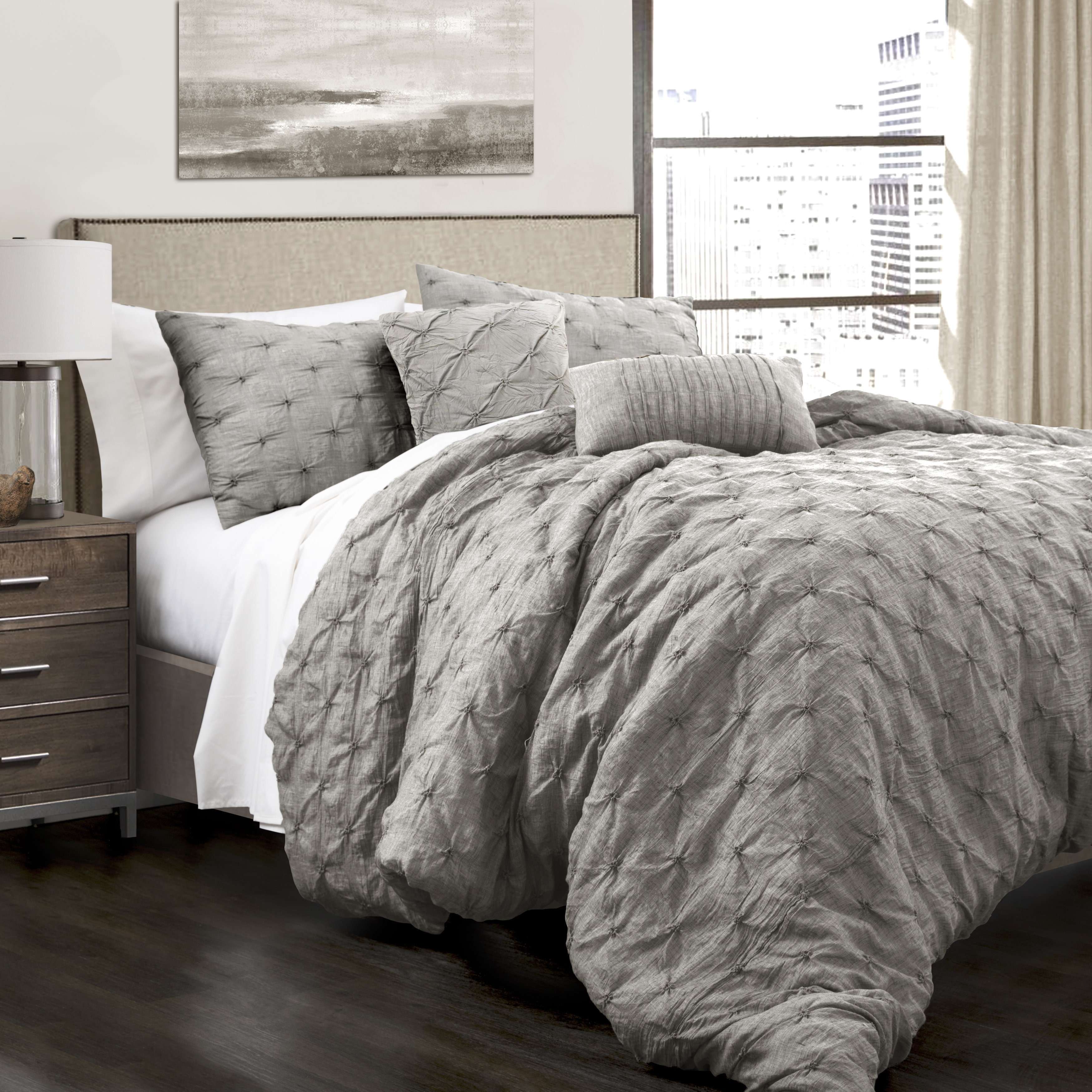 Lush Decor Ravello Pintuck 5 Piece King Size Comforter Se...