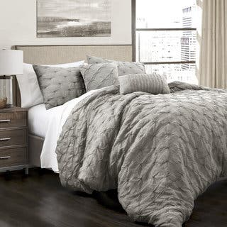 Lush Decor Ravello Pintuck 5 Piece Comforter Set  Option  Grey. Grey Comforter Sets For Less   Overstock com