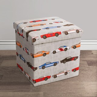 Lush Decor Race Cars Fabric Collapsible Ottoman Set