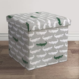 Lush Decor Alligator Fabric Collapsible Ottoman Set