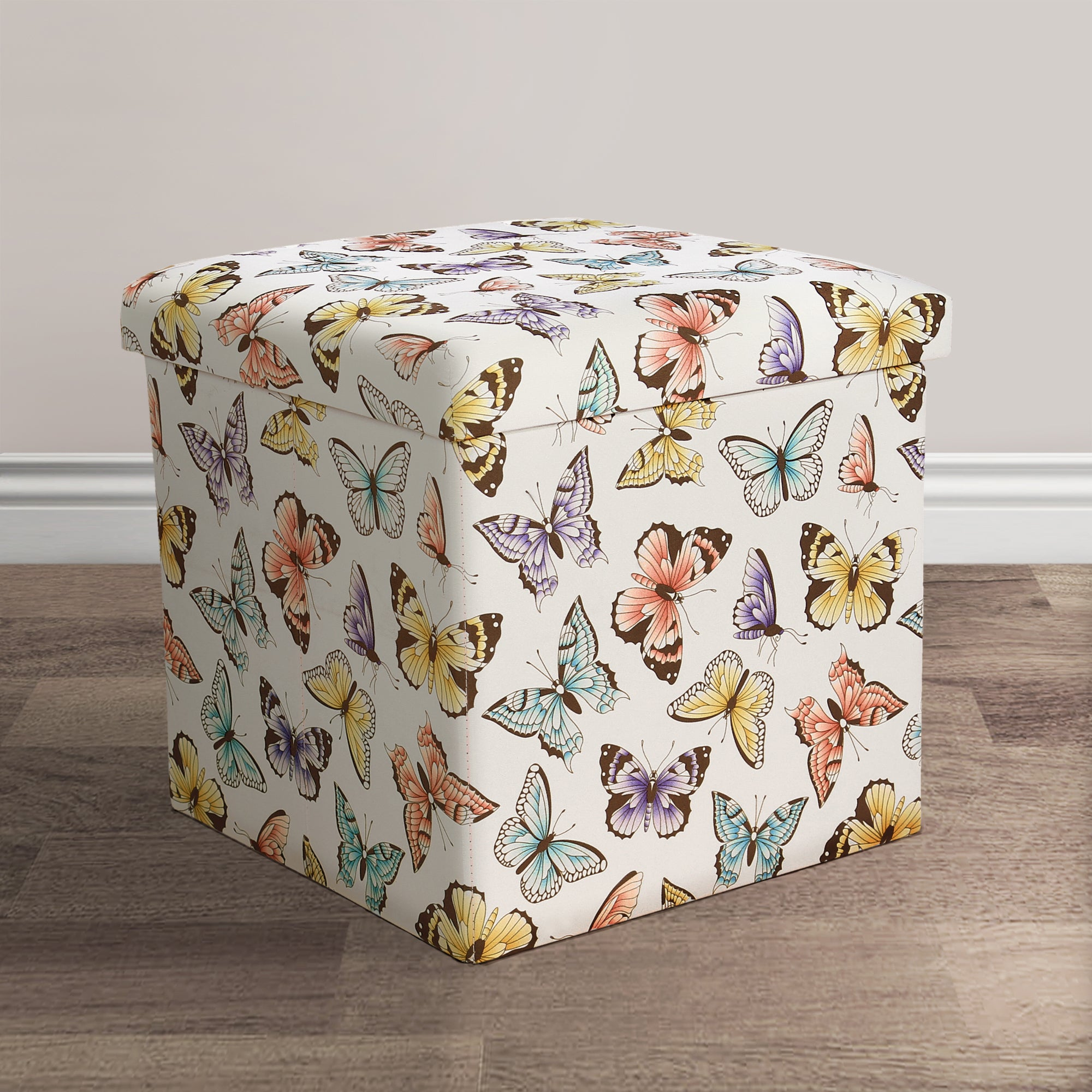 Lush Decor Flutter Butterfly Fabric Collapsible Ottoman S...