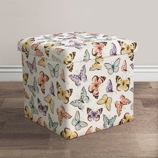 Lush Decor Flutter Butterfly Fabric Collapsible Ottoman Set
