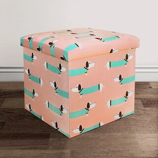 Lush Decor Sausage Dog Fabric Collapsible Ottoman Set