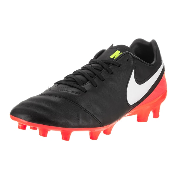 super popular 83ab8 c4c25 Nike Men  x27 s Tiempo Mystic Black Red Synthetic Leather Soccer Cleats