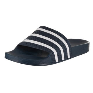 Adidas Men's Adilette Blue and White Synthetic Leather Sandal