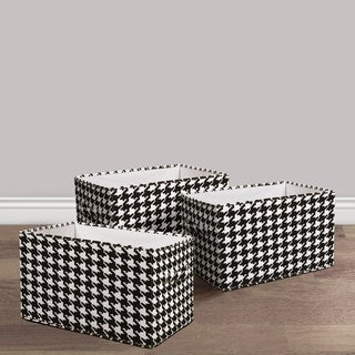 Lush Decor Houndstooth Fabric 3-piece Collapsible Box Set