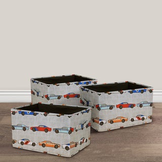 Lush Decor Race Cars Fabric 3-piece Collapsible Box Set
