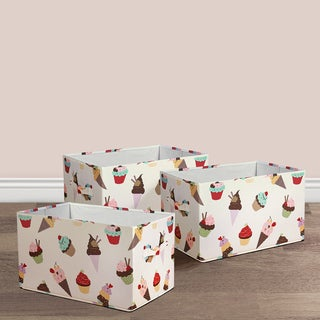 Lush Decor Cupcake Ice Cream Fabric 3-piece Collapsible Box Set