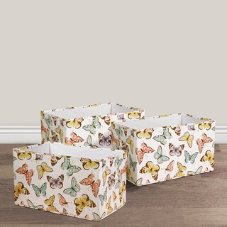 Lush Decor Flutter Butterfly Fabric 3-piece Collapsible Box Set