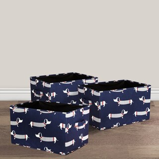 Lush Decor Sausage Dog Fabric 3-piece Collapsible Box Set