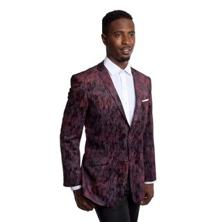 Tazio Men's Wine Velvet Blazer