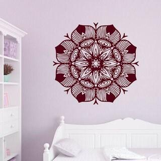 Floral Indian Pattern Mandala Decal Flower Vinyl Sticker Home Design Mural Dorm Decor Sticker Decal size 22x22 Color Burgundy