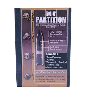 Nosler 30 Caliber Bullets Partition, 150 Grains, Spitzer, Per 50
