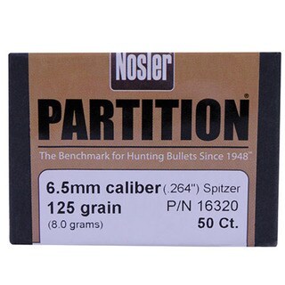Nosler 6.5mm Bullets Partition, 125 Grains, Spitzer, Per 50