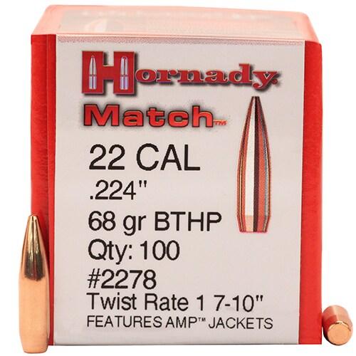 Hornady 22 Caliber Bullets (.224) 68 Gr BTHP Match (Per 100)