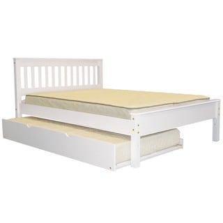 Bedz King Mission Style Full Bed with a Twin Trundle, White