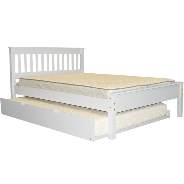 Bedz King Mission Style Full Bed with a Full Trundle, White