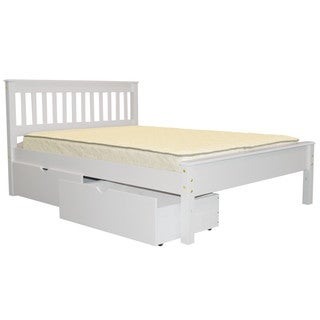 Full Bed White with Drawers