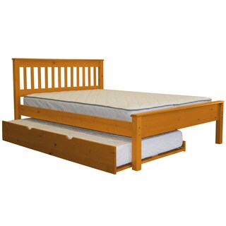 Bedz King Mission Style Full Bed with a Twin Trundle, Honey