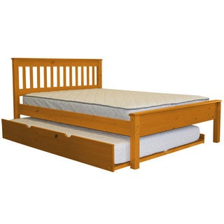 Bedz King Mission Style Full Bed with a Full Trundle, Honey
