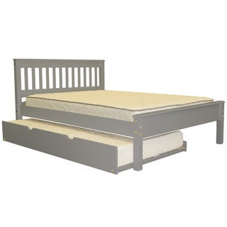 Bedz King Mission Style Full Bed with a Twin Trundle, Grey
