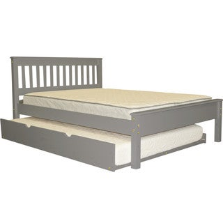 Bedz King Mission Style Full Bed with a Full Trundle, Grey