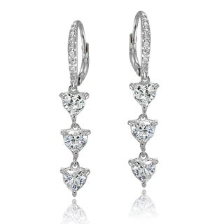 Icz Stonez Sterling Silver Cubic Zirconia Heart 3-Stone Dangle Earrings